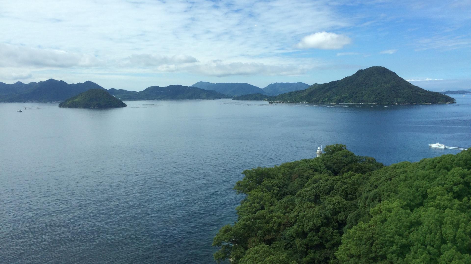 Bucht von Hiroshima mit den Inseln Nanoshima, Onasabi und Itsukushima (Miyajima)