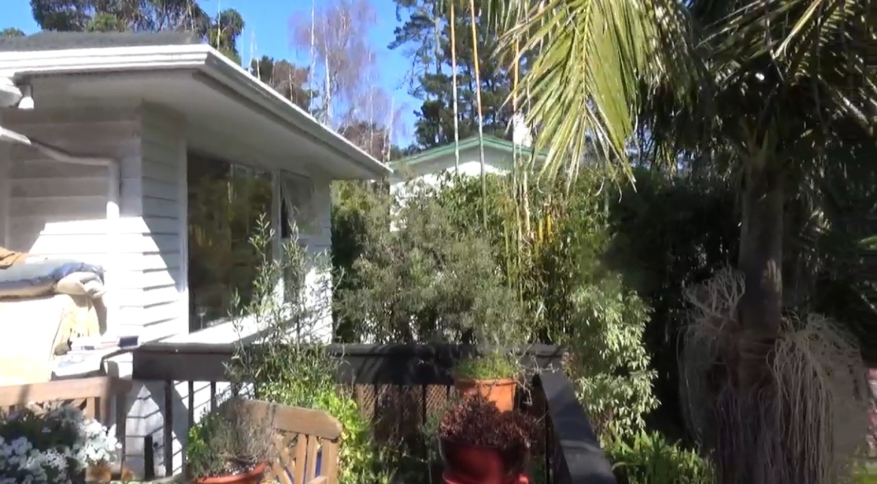 Вид на дом и сад с балкона