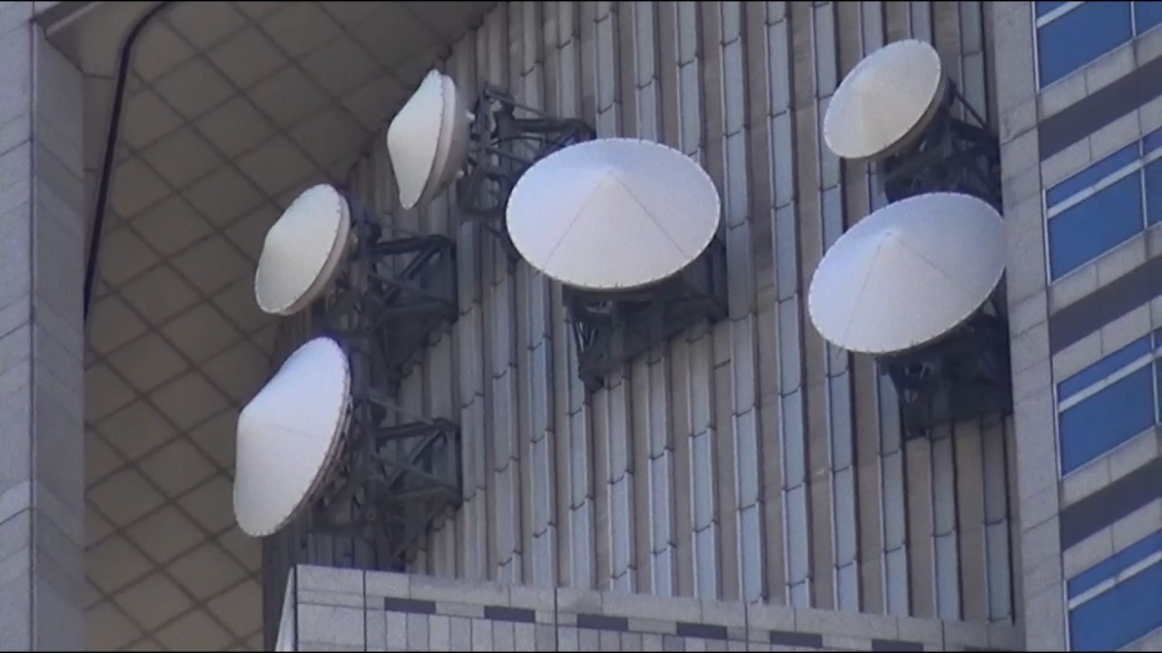 Huge communications installations above the visitors plattform at Tokyo Metropolitan Government Building