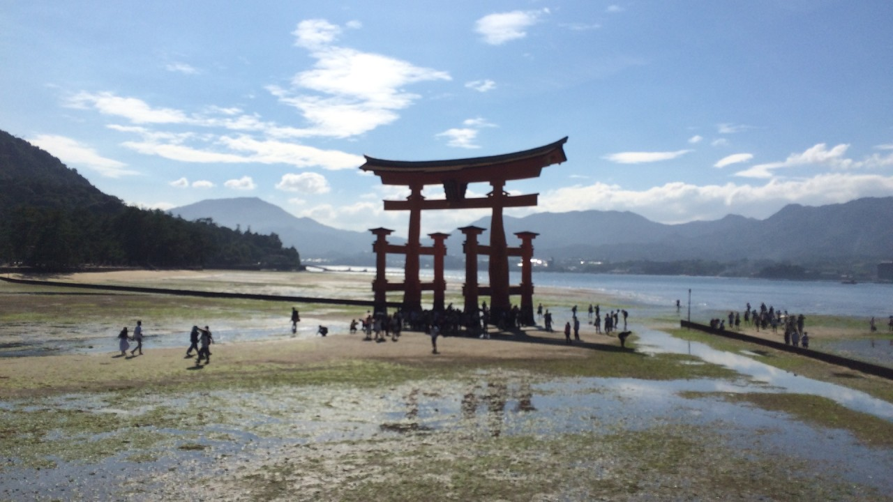Torii of the Itsukushima Shrine low tide