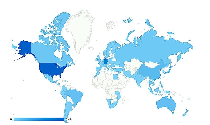 Nutzer aus 70 Ländern lesen diese Seite im Netz