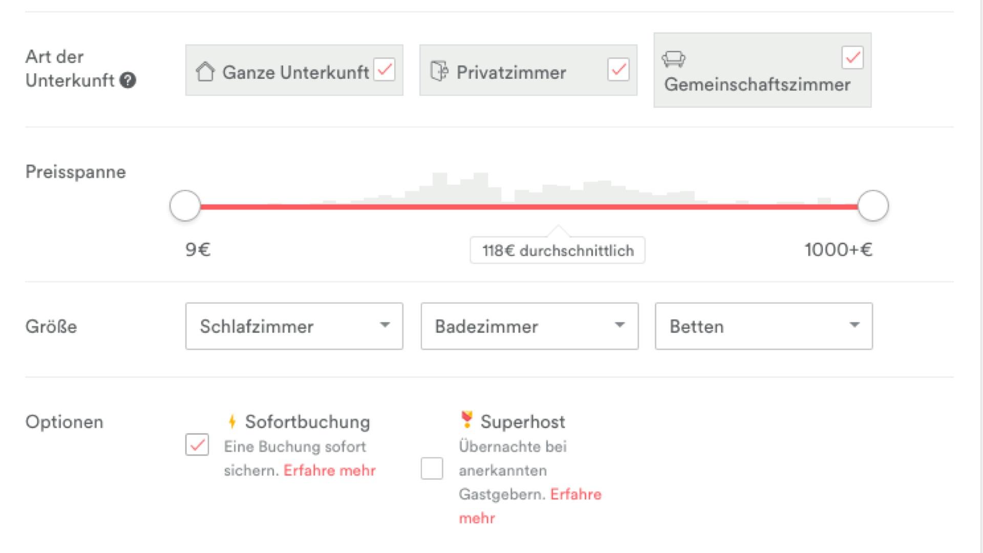 Airbnb - Auswahlbildschirm mit Sofortbuchung